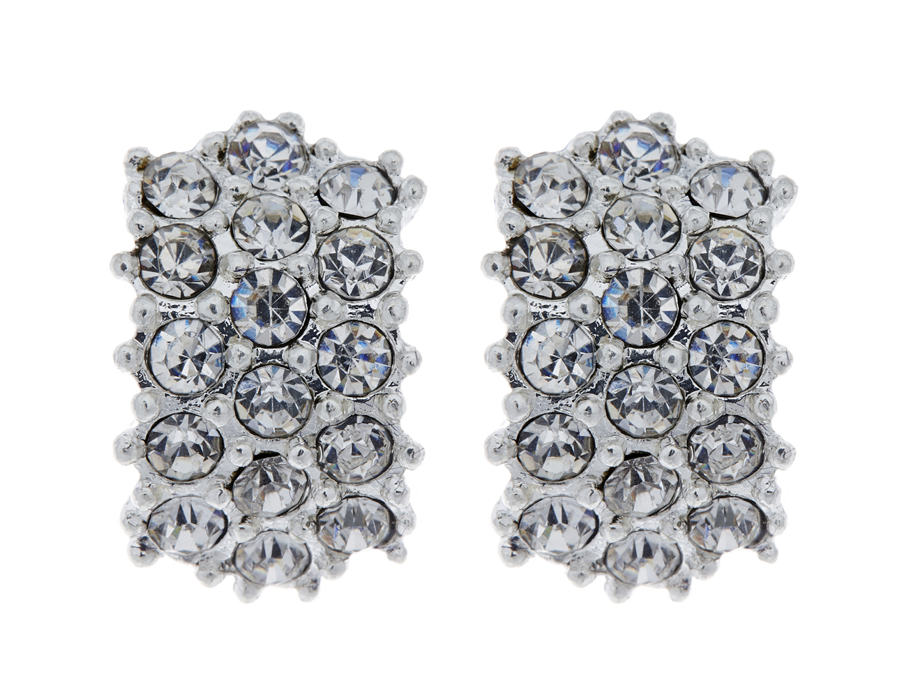 Clip On Earrings - Emily - silver stud earring with clear diamante crystals