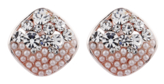 Clip On Earrings - Emma C - rose gold stud earring with pearls and clear crystals