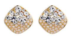 Clip On Earrings - Emma CP - gold stud earring with pearls and clear crystals