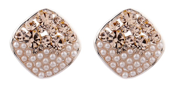 Clip On Earrings - Emma G - rose gold stud earring with pearls and gold crystals
