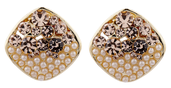 Clip On Earrings - Emma GP - gold stud earring with pearls and gold crystals