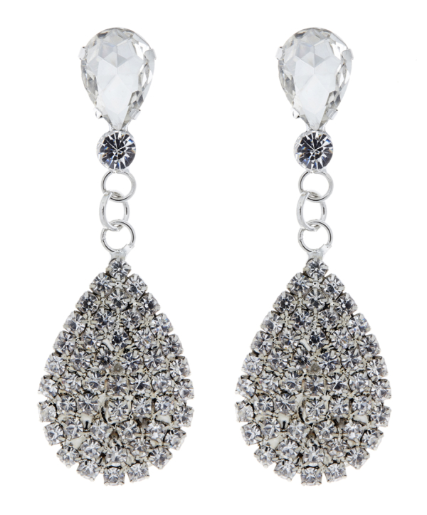 Clip On Earrings - Enya - silver drop earring with a clear stone and crystals