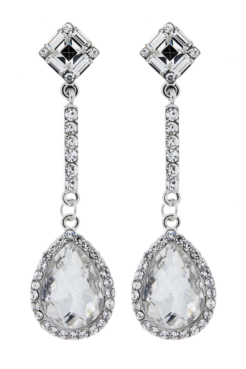 Clip On Earrings - Erin - silver drop earring with a cubic zirconia stone and crystals