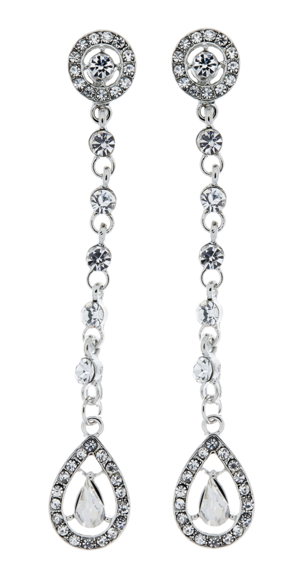 Clip on earrings - Esmay - silver drop earring with a cubic zirconia stone and crystals