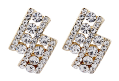 Clip On Earrings - Esme C - gold stud earring with clear crystal diamantes