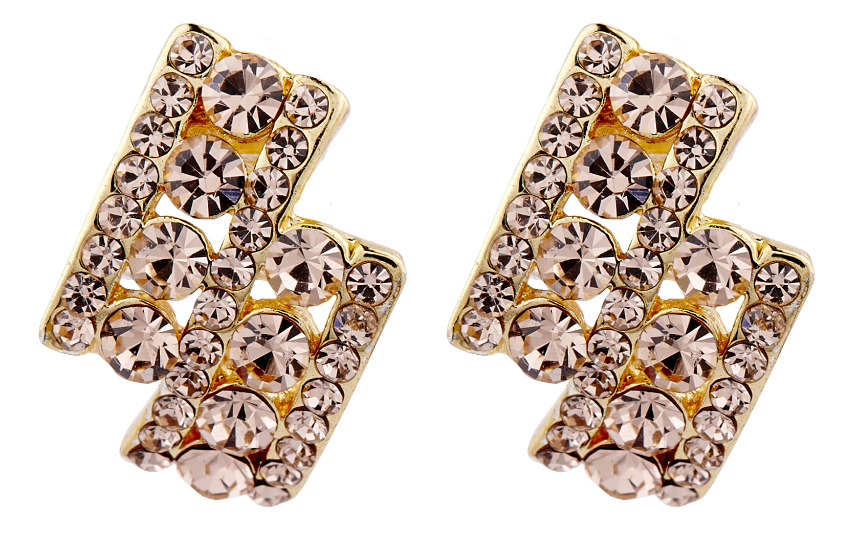 Clip On Earrings - Esme G - gold stud earring with gold crystal diamantes