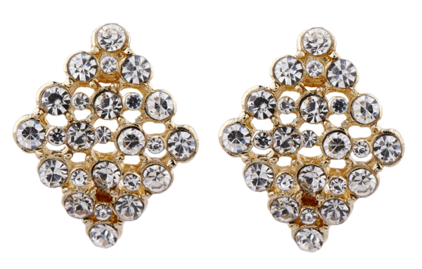 Clip On Earrings - Ester - gold stud earring with crystals