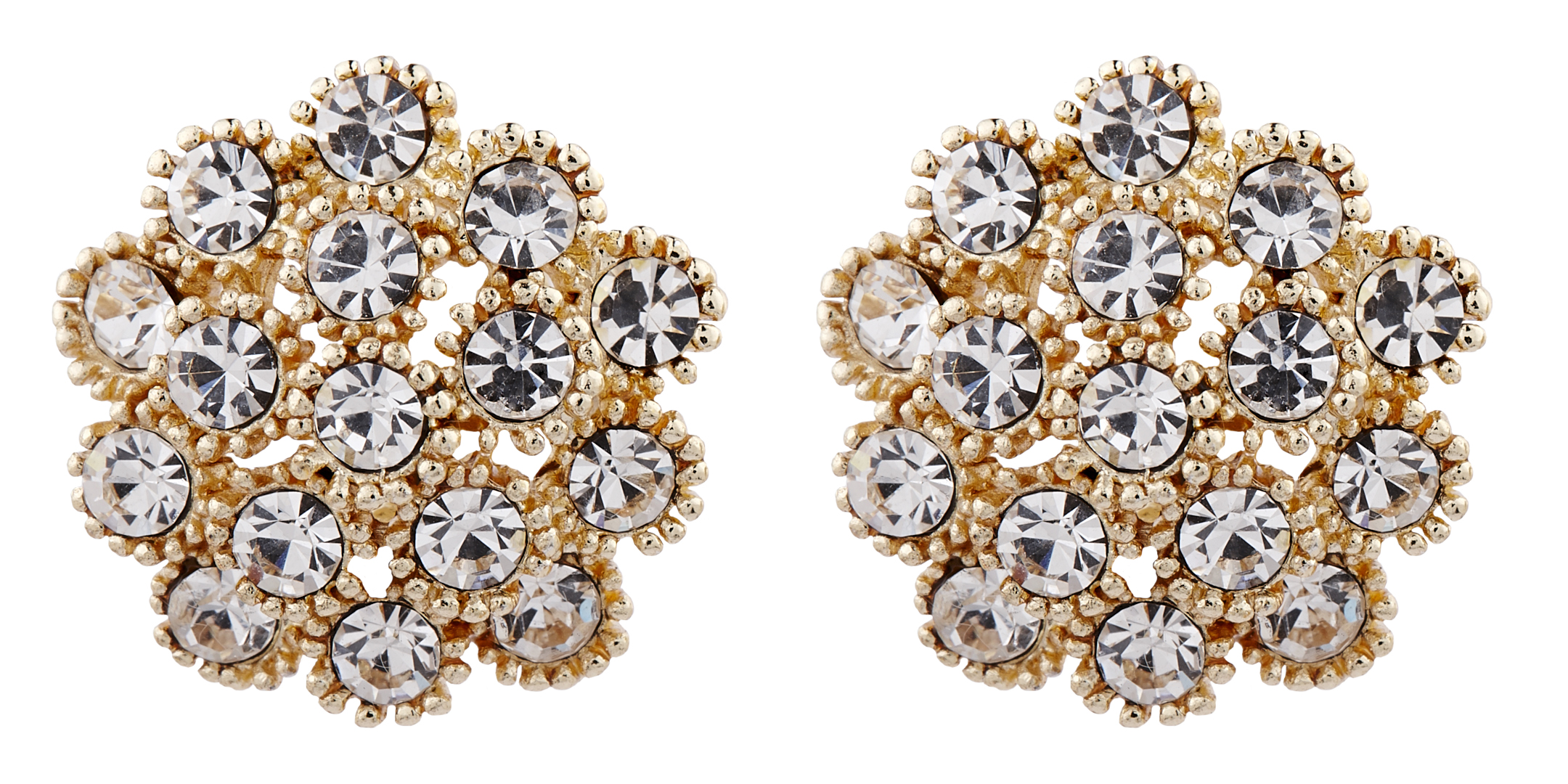 Clip On Earrings - Ethel - gold stud earring with clear crystal diamantes