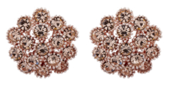 Clip On Earrings - Ethel G - gold stud earring with gold crystal diamantes