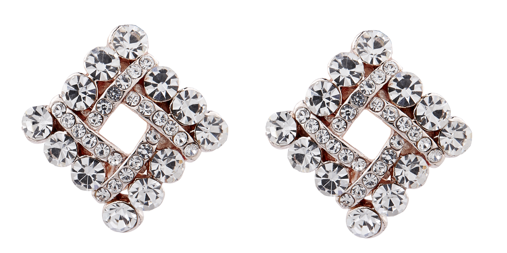 Clip On Earrings - Eva C - gold stud earring with clear cubic zirconia crystals