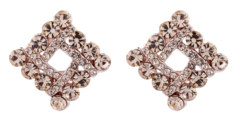 Clip On Earrings - Eva G - gold stud earring with gold cubic zirconia crystals
