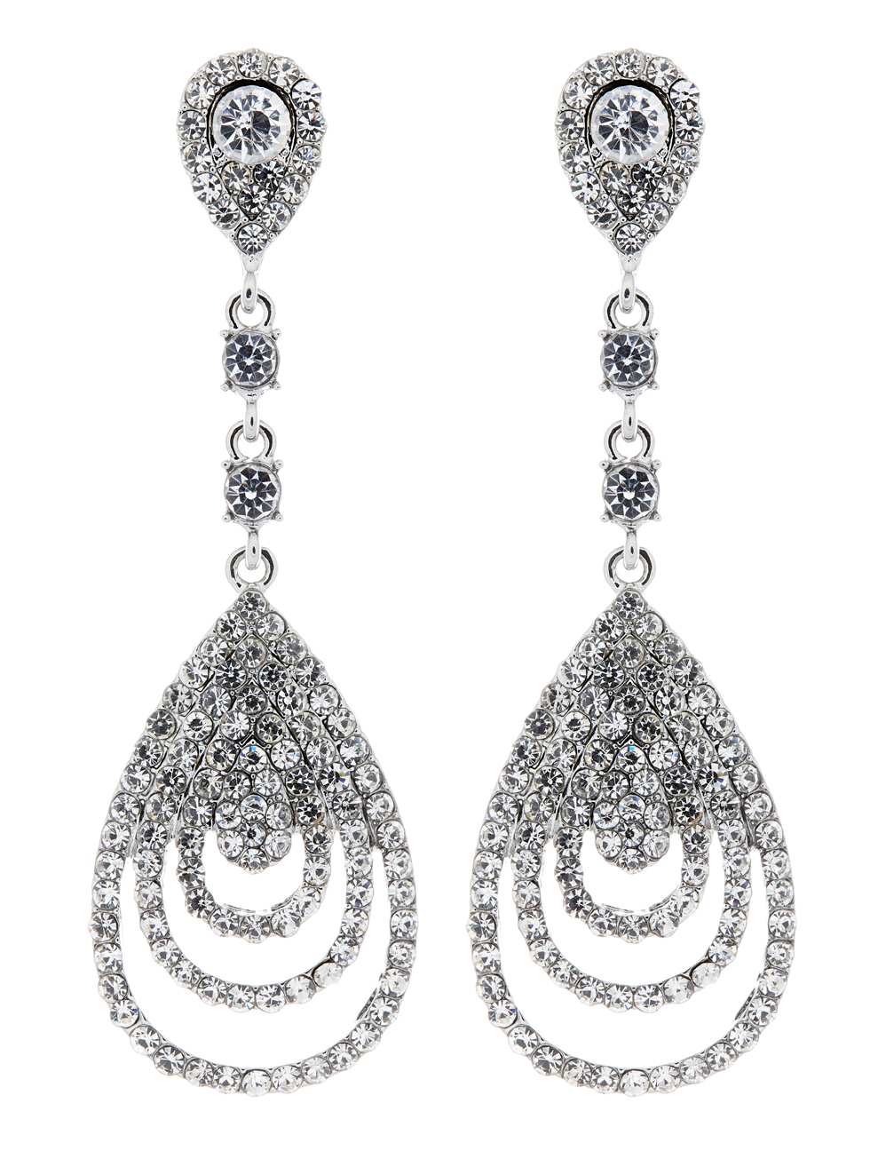 Clip On Earrings - Evita - silver luxury drop earring with a cubic zirconia stone and crystals