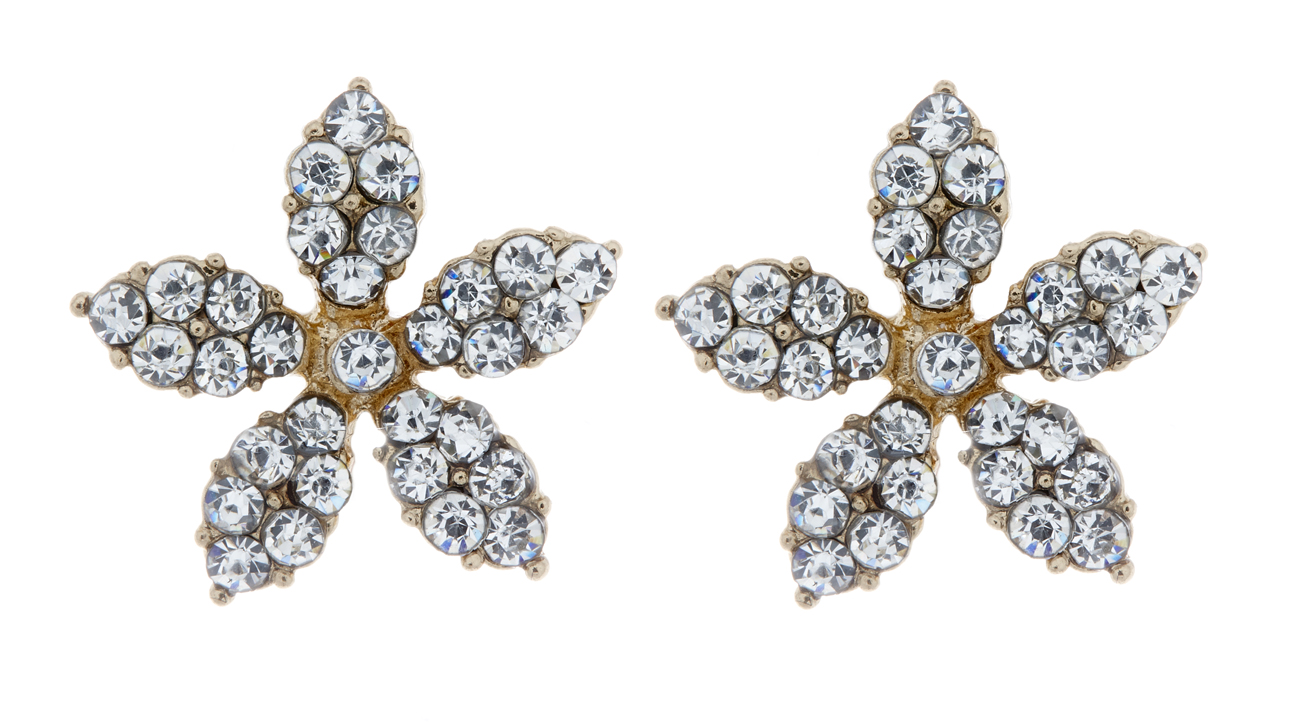 Clip On Earrings - Haley - gold flower stud earring with clear crystals