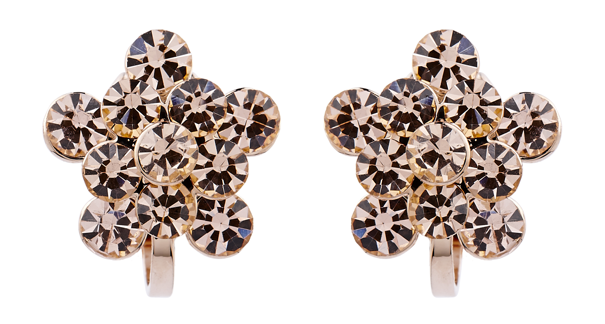 Clip On Earrings - Hanna - rose gold stud earring with gold rhinestone crystals