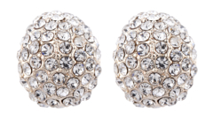 Clip On Earrings - Harley - gold stud earring with clear crystals