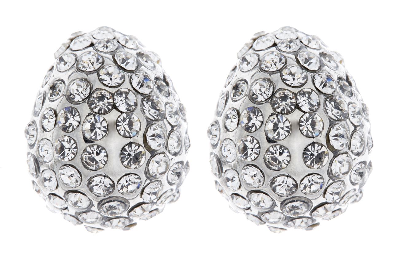 Clip On Earrings - Harley S - silver stud earring with clear crystals