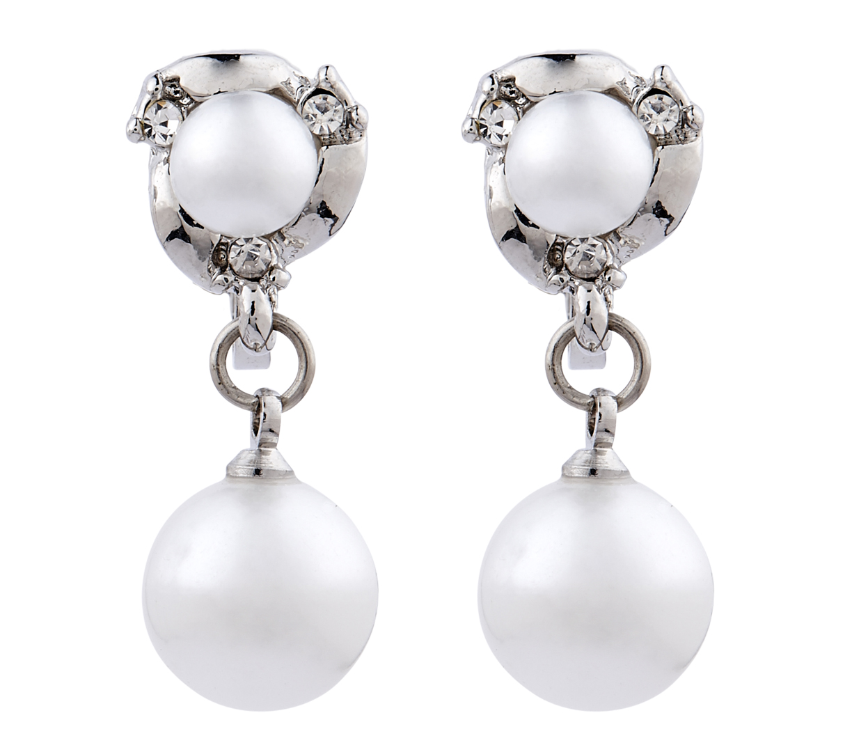 Clip On Earrings - Harper - silver earring with diamante crystals and pearls