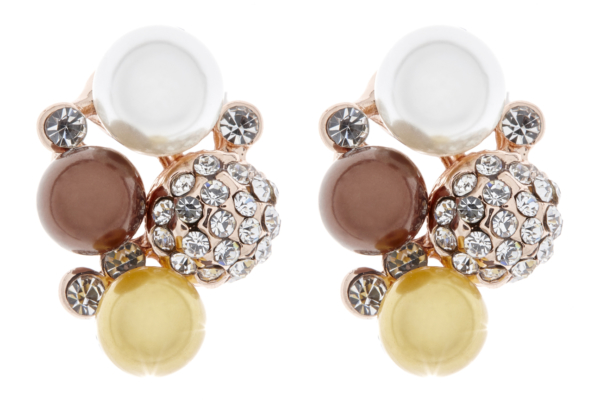 Clip On Earrings - Hazel - gold earring with crystals and coloured pearls