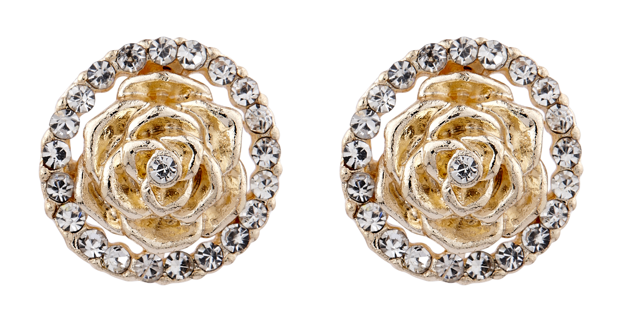 Clip On Earrings - Heidi - gold flower earring with clear rhinestone crystals