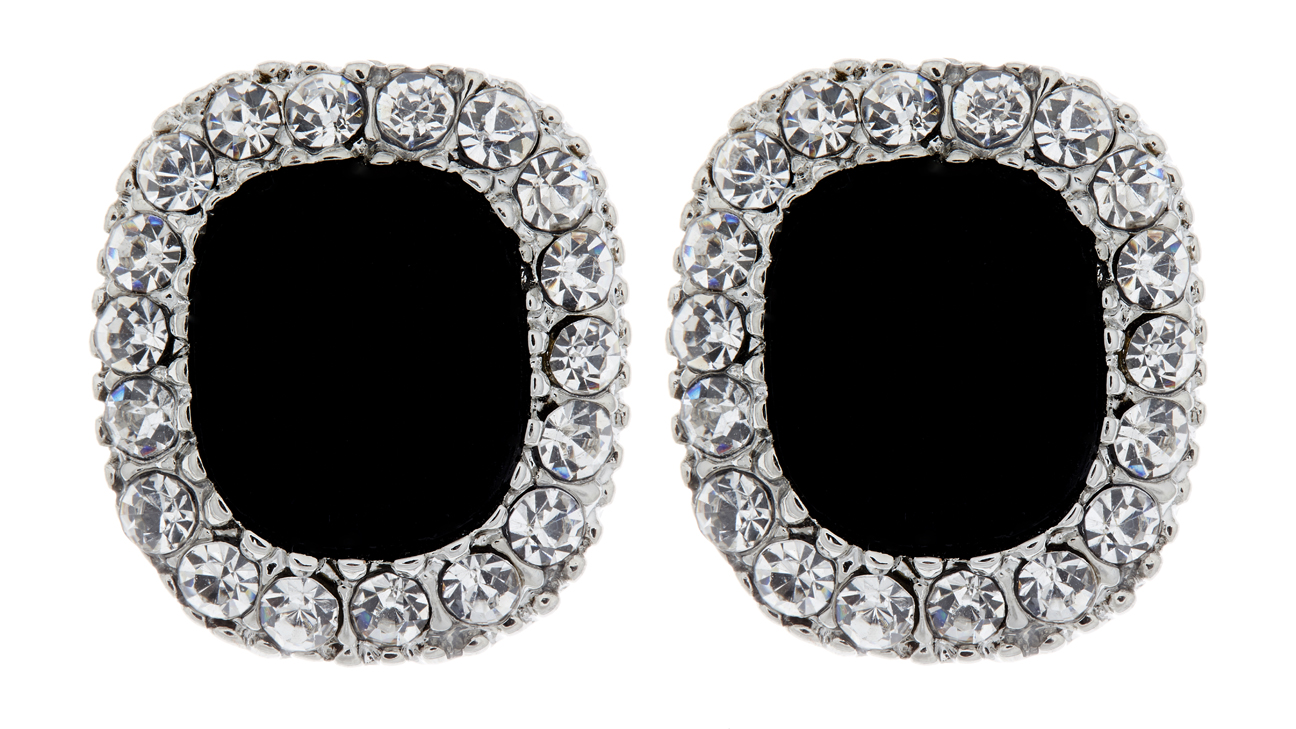 Clip On Earrings - Helen - silver earring with a large black stone and clear crystals