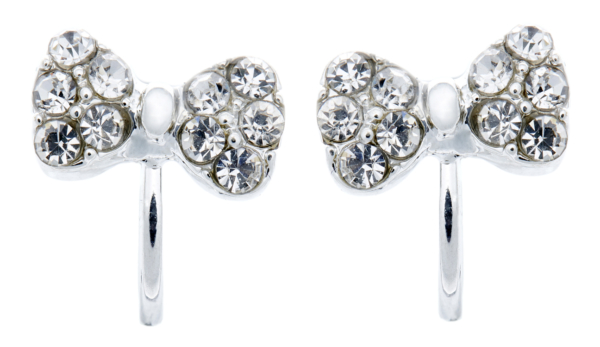 Clip On Earrings - Helina - silver bow earring with clear crystals