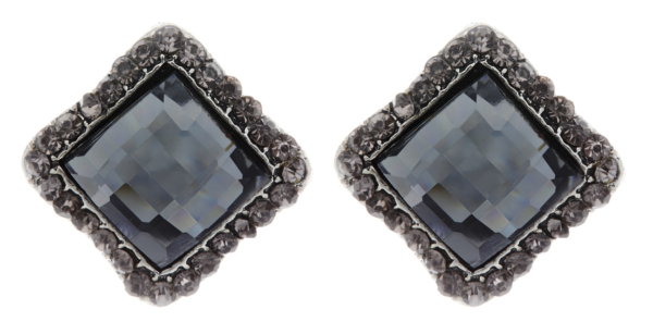 Clip On Earrings - Hera - silver stud earring with a square stone and crystals