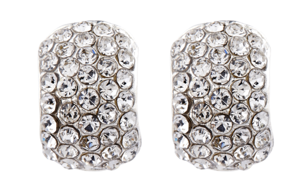 Clip On Earrings - Hetty - silver huggie earring with diamante crystals