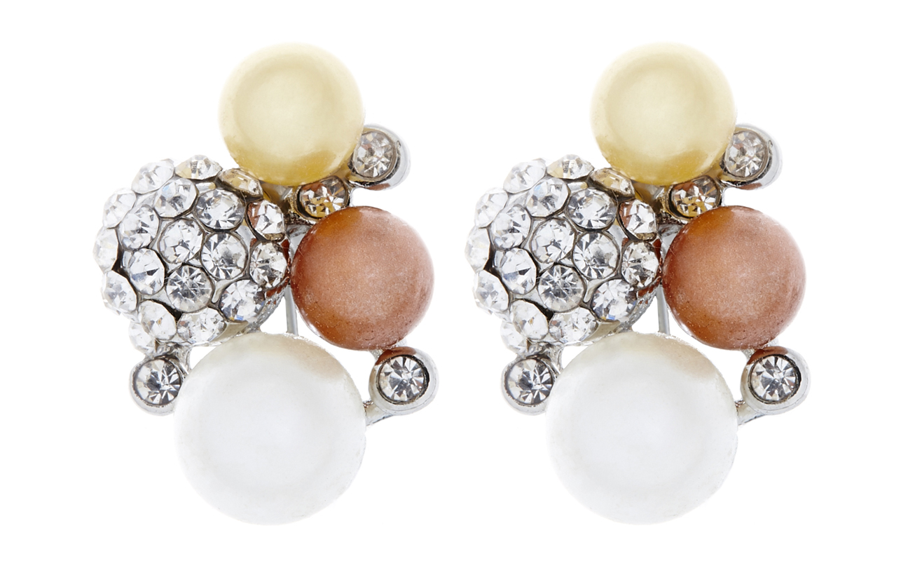 Clip On Earrings - Hilda S - silver earring with crystals and coloured pearls