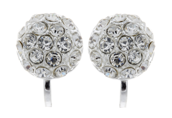Clip On Earrings - Holly - silver stud earring with clear crystals