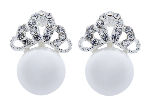 Clip On Earrings - Hope - silver pearl earring with crystals