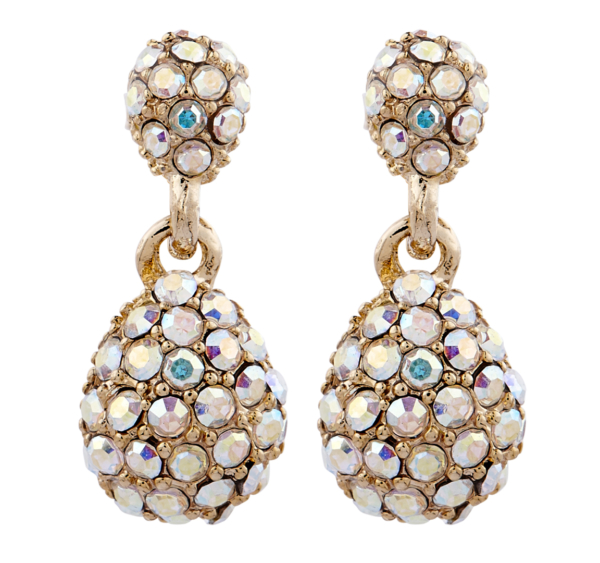 Clip On earrings - Mabel - gold drop earring with coloured crystals