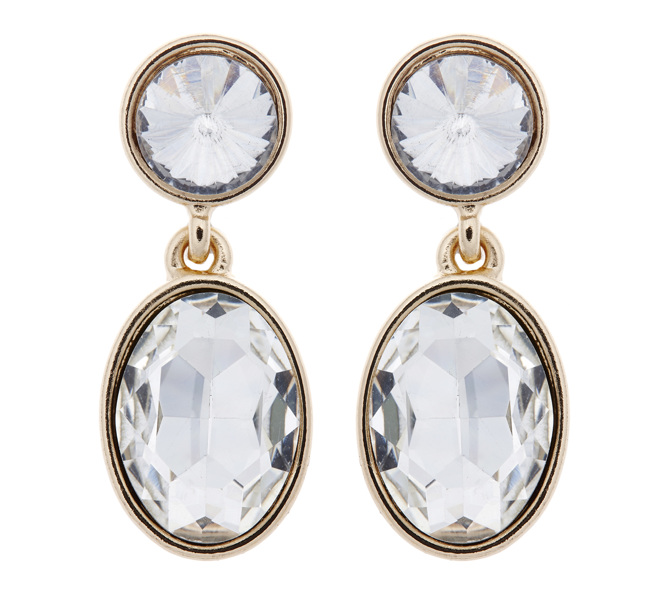 Clip On Earrings - Maddy C - gold drop earring with clear crystals