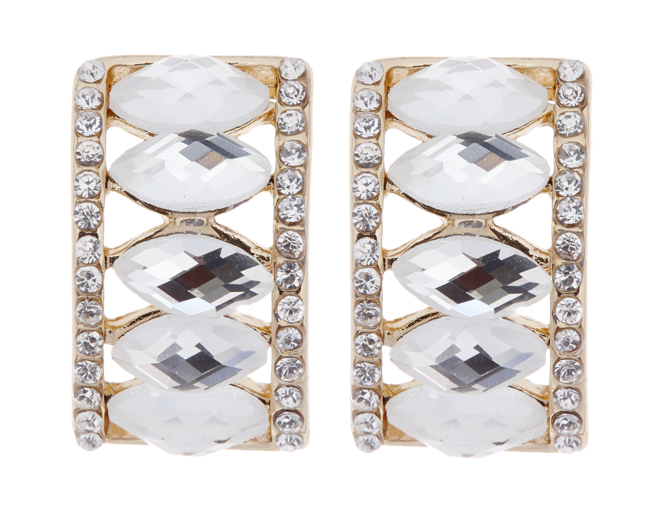 Clip on earrings - Magde - gold earring with clear crystals and oval stones