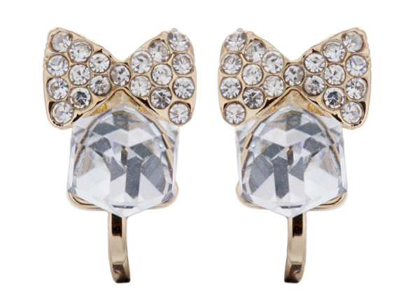 Clip On Earrings - Maisy - gold bow earring with clear crystals and CZ stone