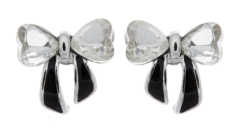 Clip on earrings - Malina - silver bow with clear stones and black enamel