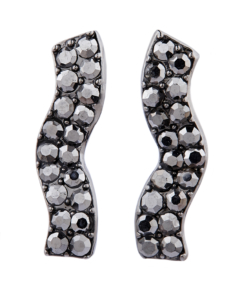 Clip on earrings - Mandy G - gunmetal grey earring with jet coloured crystals