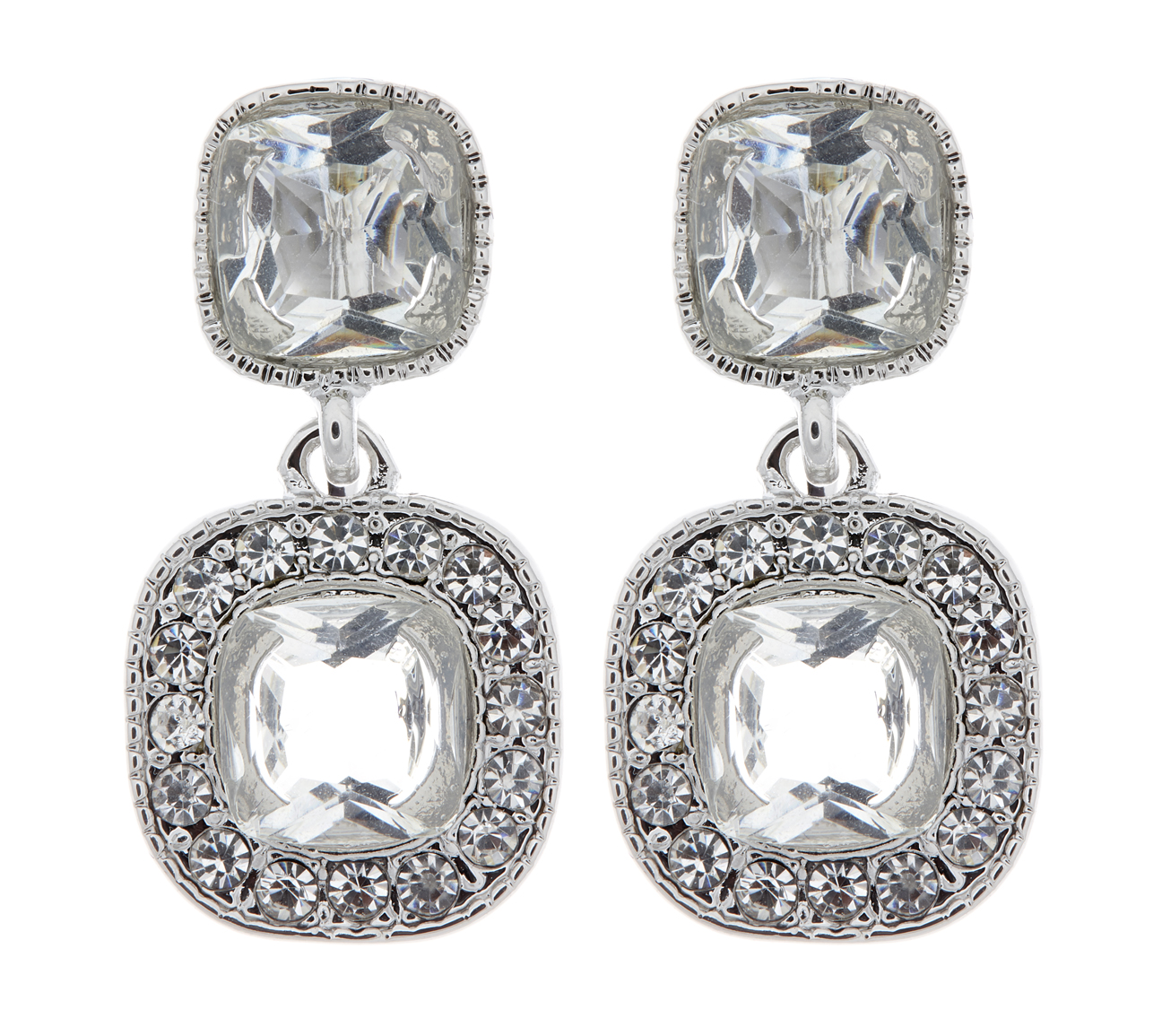 Clip On Earrings - Mara - silver drop earring with CZ crystals and stones