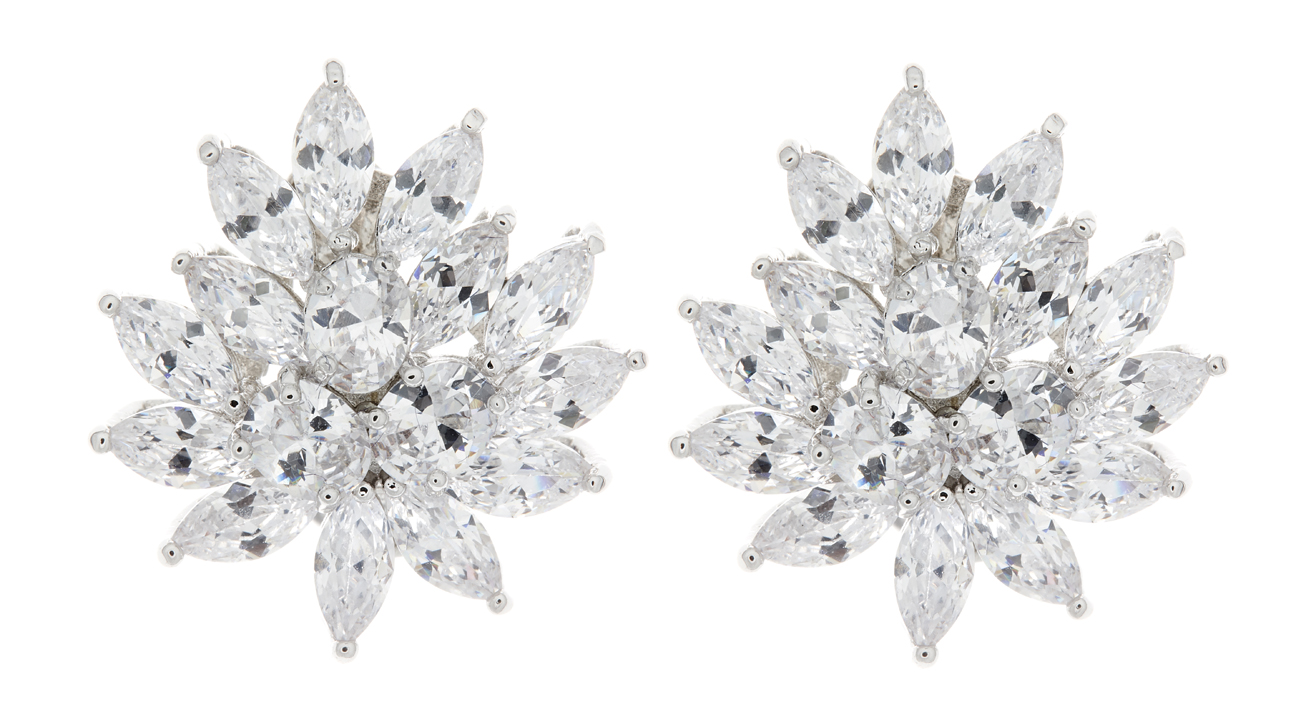 Clip On Earrings - Marge - silver luxury earring with clear cubic zirconia stones