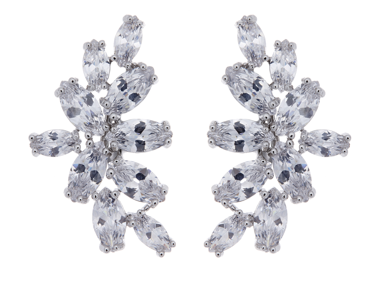 Clip On Earrings - Marla - silver luxury stud earring with clear cubic zirconia stones
