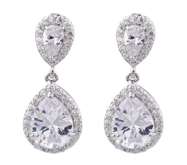 Clip On Earrings - Martha - silver luxury drop earring with cubic zirconia crystals and stones