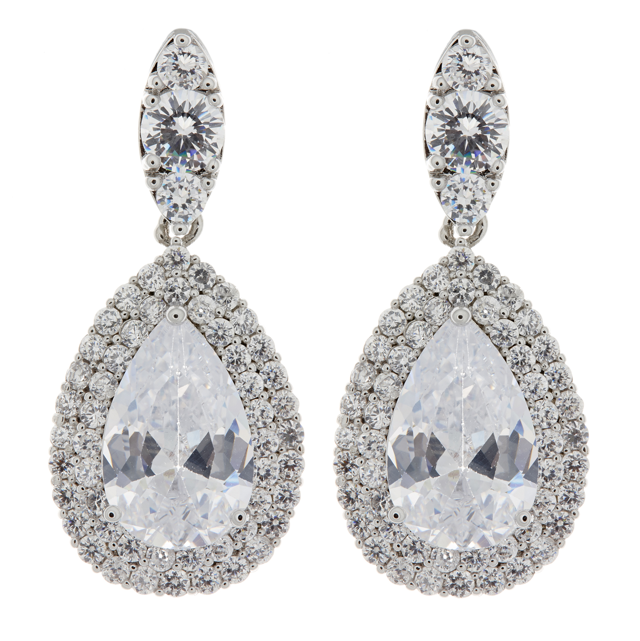 Clip On Earrings - Mavis - silver luxury drop earring with clear cubic zirconia crystals and stone