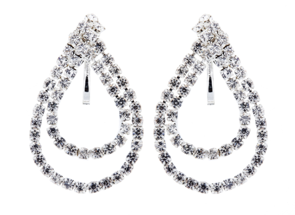 Clip on earrings - May C - silver drop earring with clear crystal loops