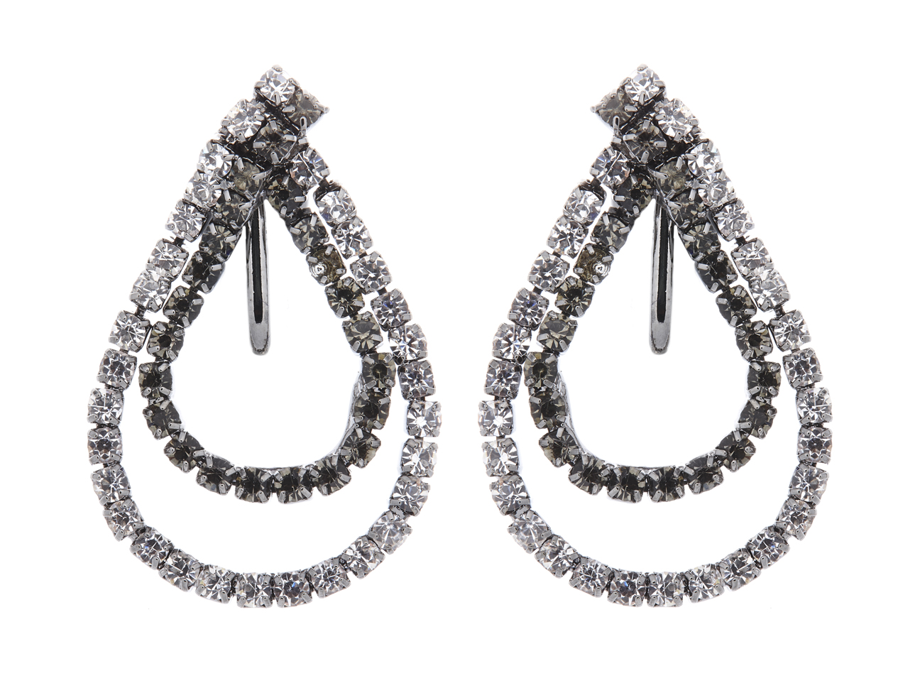 Clip on earrings - May G - gunmetal grey drop earring with clear and grey crystal loops