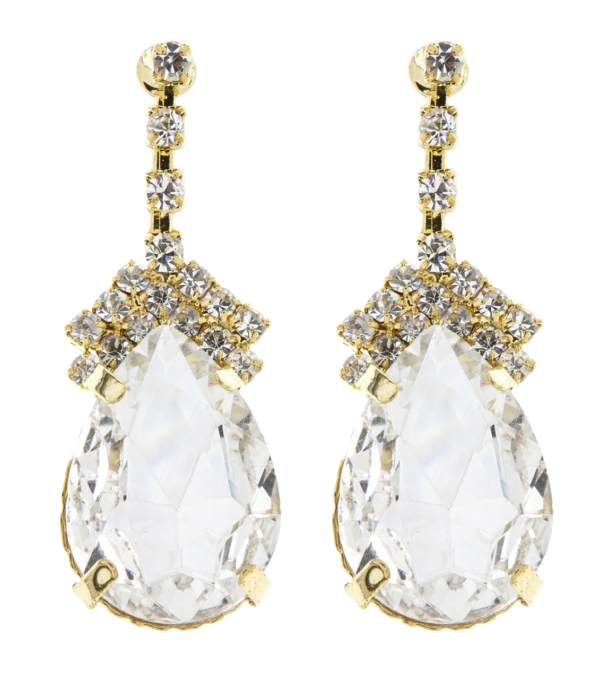 Clip on earrings - Meg - gold earring with an oval stone & clear cubic zirconia crystals