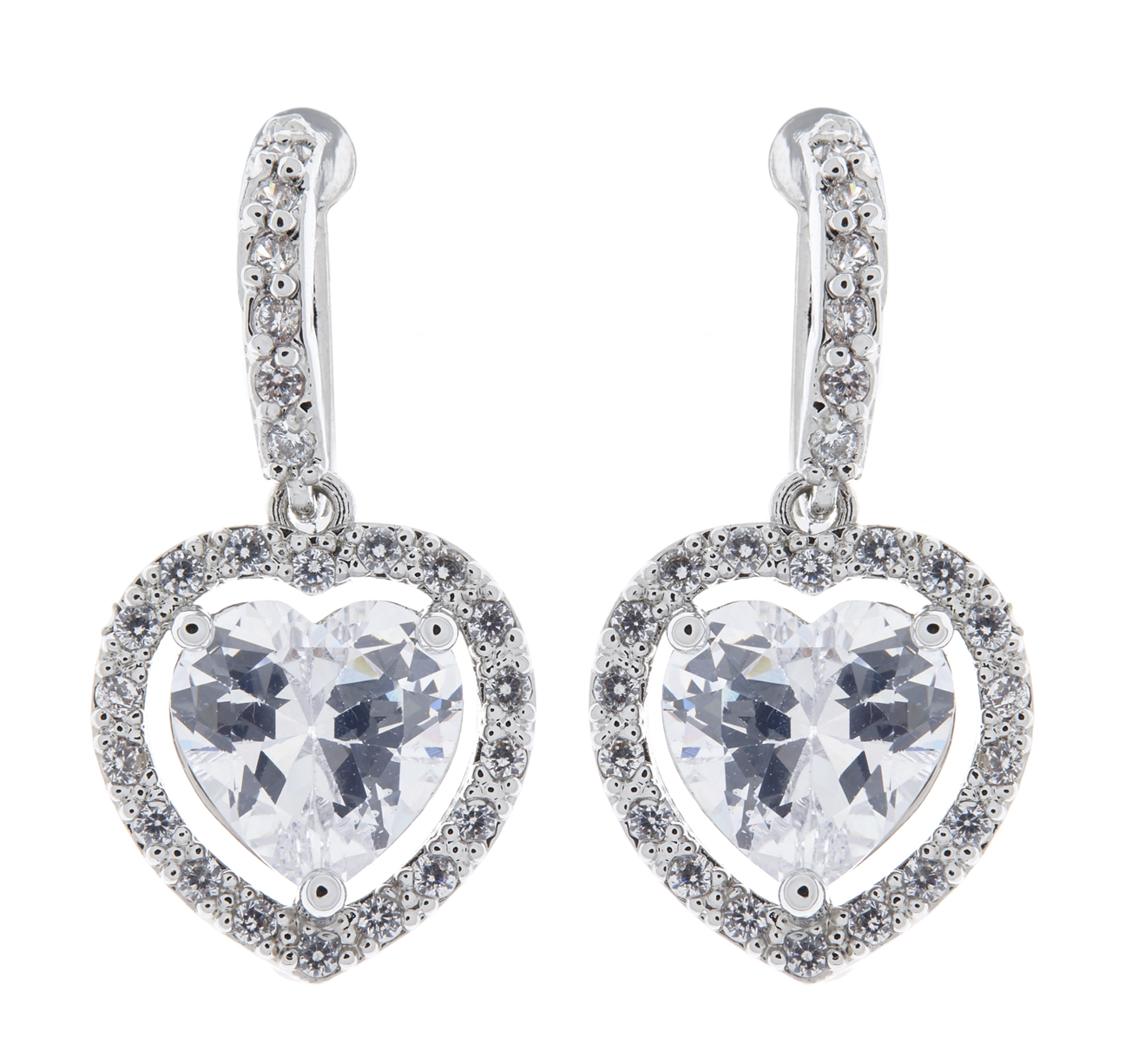 Clip On Earrings - Mel - silver drop earring with cubic zirconia crystals and a heart shaped stone