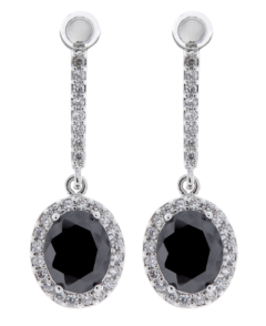 Clip On Earrings - Meryl B - silver drop earring with clear crystals and a black cubic zirconia stone