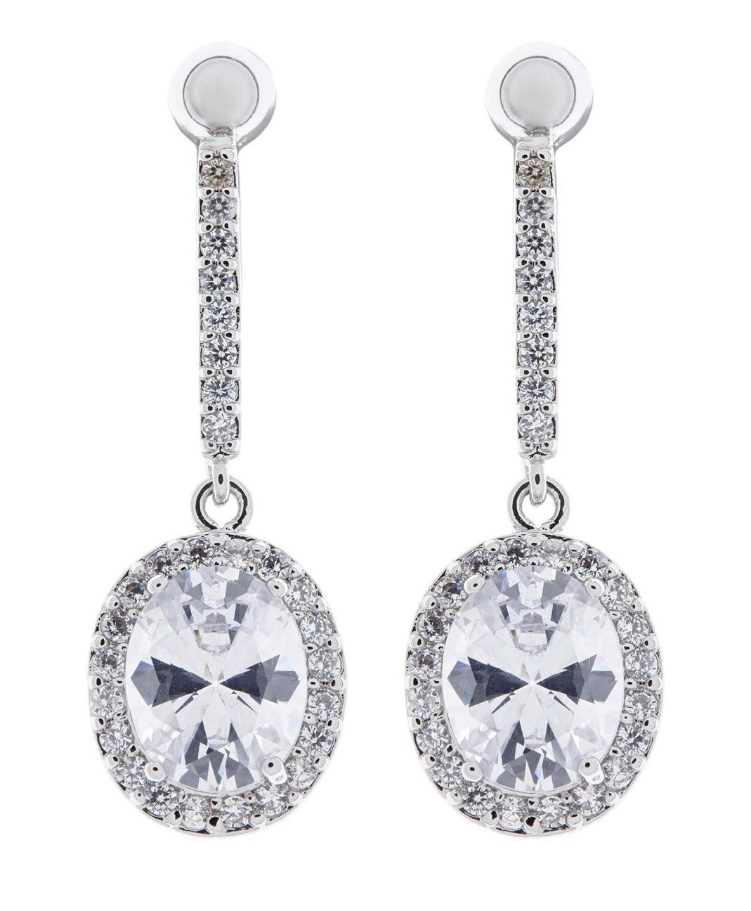 Clip On Earrings - Meryl C - silver drop earring with clear cubic zirconia crystals and stone