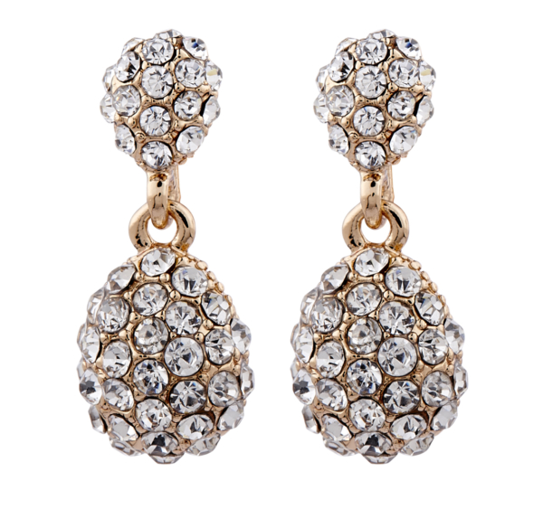 Clip On Earrings - Mia G - gold drop earring with clear crystals