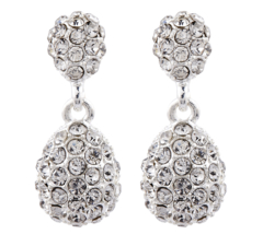 Clip On Earrings - Mia S - silver drop earring with clear crystals