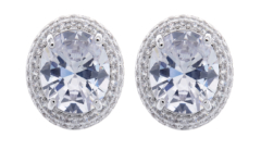 Clip On Earrings - Miley C - silver earring with cubic zirconia crystals and a clear stone
